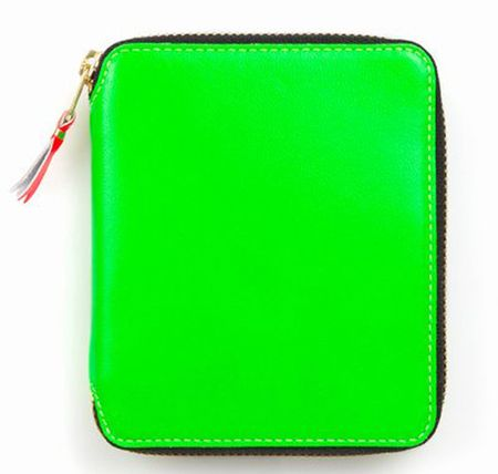 Commes-des-garcons-super-fluorescent-medium-zip-around-green